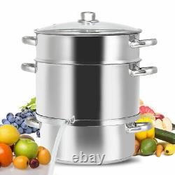11-Quart Stainless Steel Fruit Juicer Steamer Stove Top with Tempered Glass Lid