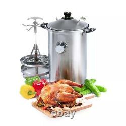 21 Quart Indoor Kitchen Smoker BBQ Stainless Steel for All Stove types HANHI