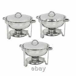 3 Pack Round Chafing Dish 5 Quart Stainless Steel Full Size Tray Buffet Catering