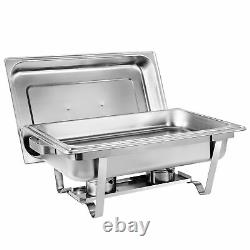 4 Packs Chafing Dish 8 Quart Stainless Steel Full Size Buffet Rectangular Chafer