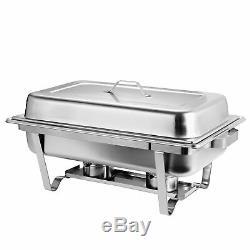 4 Packs Chafing Dish 8 Quart Stainless Steel Rectangular Chafer Full Size Buffet