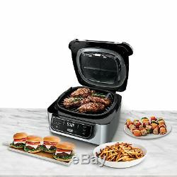 4-in-1 Indoor Grill with 4-Quart Air Fryer with Roast Bake and Cyclonic Grill