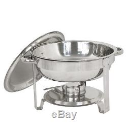 5 Pack Round Chafing Dish 5 Quart Stainless Steel Full Size Tray Buffet Catering