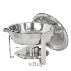 5 Pack Round Chafing Dish 5 Quart Stainless Steel Tray Buffet Catering Warming