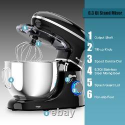 6.3 Quart Tilt-Head Food Stand Mixer 6 Speed 660W withDough Hook, Whisk Black