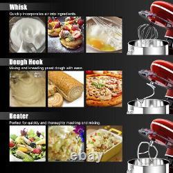 6.3 Quart Tilt-Head Food Stand Mixer 6 Speed 660W withDough Hook, Whisk Red