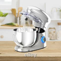 6.3 Quart Tilt-Head Food Stand Mixer 6 Speed 660W withDough Hook, Whisk Silver