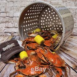 62 Quart Stainless Steel Stockpot Boil Steam Basket Crawfish Crab Lobster Stew