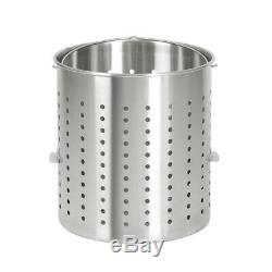 80/100QT Stainless Steel Stock Pot withSteamer Basket Cookware F Boiling Steaming