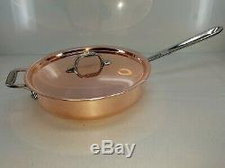 ALL CLAD C2 copper clad 3 qt quart SAUTE SAUCE PAN with lid MADE IN AMERICA