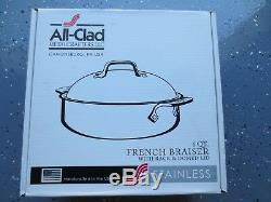 All-Clad 4515 Stainless Steel 3-Ply Bonded French Braiser with Rack, 6-Quart
