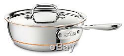All-Clad 6212 SS Copper Core 2-Quart Saucier Pan with Lid FACTORY SECONDS