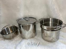 All-Clad A4 Stainless Steel 12 Quart Stock Pot with Lid Kitchen 4 Pc Cookware