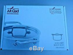 All Clad D5 Soup Pot 4 Quart with Lid SD552043 Stainless Steel NIB