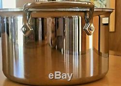All Clad D5 Stainless Steel 4 QT Quart Saucepan Pot With Lid and Helper Handle