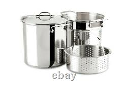 All-clad Stainless Steel 12-Quart Multi Cooker Cookware Set, 3-Piece with Lid