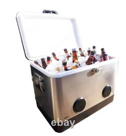 BREKX 54 Quart Party Cooler with Bluetooth Speakers Stainless Steel
