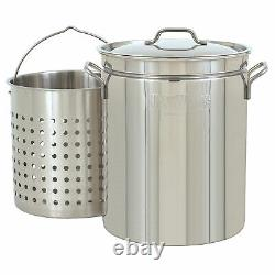 Bayou Classic Large 62 Quart Stainless Steel Soup Cooking Stock Pot with Basket