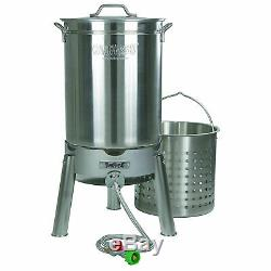 Bayou Classic Stainless Steel 44 Quart Seafood & Crawfish Cooker Kit (2 Pack)