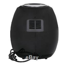 Black 1500W Electric Air Fryer 3.7 Quart With Timer Temperature Control Free Oil