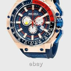 Brera Orologi Gran Turismo Chronograph Quarts Navy Rubber Analog Men's Watch