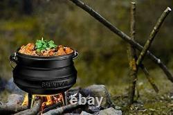 Bruntmor Pre-Seasoned Cast Iron Potjie African Pot With Wooden Crate 7-Quart