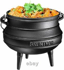 Bruntmor Pre-Seasoned Cast Iron Potjie African Pot With Wooden Crate 8-Quart