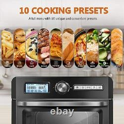 CROWNFUL 19 Quart Air Fryer Toaster Oven, Convection Roaster & Dehydrator, Black