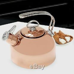 Chantal Classic 1.8 Quart Harmonica Whistling Water Teakettle with Mitt, Copper