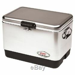 Coleman 54 Quart Steel Belted Cooler Stainless Steel 6155B707