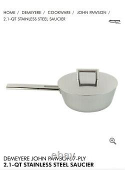 Demeyre John Pawson 2.1 Quart Conic Saute Pan With Lid 7 Ply Stainless Steel