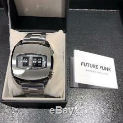 FUTURE FUNK ANALOG Retro Wrist Watch Japan Rare Quarts Mens Stainless Steel