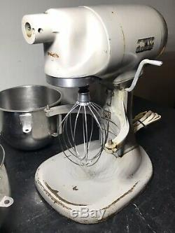 HOBART N-50 5 Quart Commercial Mixer 115V with Hook, Whisk & Paddle, Extra Bowl
