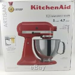 KitchenAid 5-Quart Stainless Steel Mixing Bowl with Stand Mixer KSM150 Red