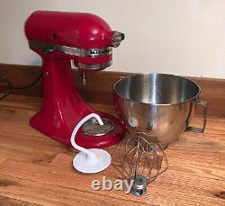 KitchenAid Artisan Series 5 Quart Tilt-Head Stand Mixer Empire Red Attachments
