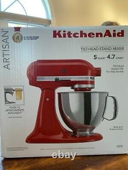 KitchenAid Artisan Series 5 Quart Tilt-Head Stand Mixer Empire Red- Never used
