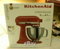 KitchenAid Artisan Tilt-Head Stand Mixer 5 Quart Empire Red with 7pc Knife Set NEW