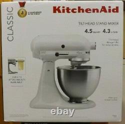 KitchenAid K45SSWH Classic 275-Watt 4.5-Quart Tilt Head Stand Mixer White NEW