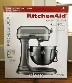 KitchenAid Professional 6 Quart 590W Bowl-Lift Stand Mixer with Flex Edge Silver