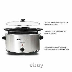 Large Capacity Crock Pot Stainless Steel Slow Cooker Oval Manual 8.5 Quart