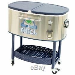Margaritaville Rolling Oval Stainless Steel Cooler 77 Quart Margaritavill