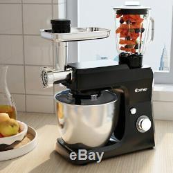 Multifunction Stand Mixer Blender Meat Grinder Sausage Maker 7 Quart Bowl Black