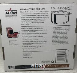 NEW ALL CLAD COPPER CORE 8 QUART STOCKPOT with LID 6508 SS STAINLESS STEEL COVERED