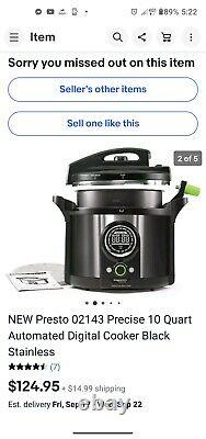 NEW Presto 02143 Precise 10 Quart Automated Digital Cooker Black Stainless