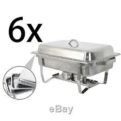 New 6 Pack of 8 Quart Stainless Steel Rectangular Chafing Dish Full Size