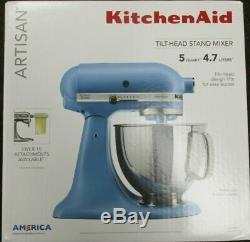 New KitchenAid Artisan Series 5 Quart Stand Mixer KSM150PSVB Blue Velvet
