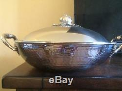 RUFFONI Hammered Stainless Steel 4 3/4 quart WOK w Tomato Finial NEW no box