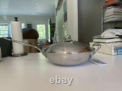RUFFONI Hammered Stainless Steel Covered Chefs Pan with Pumpkin Knob 4-Quart
