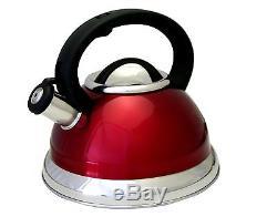 Red Stainless Steel 3-quart qt 2.8 Liter Whistling Tea Kettle Capsule Base NEW