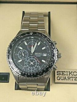 SEIKO SND253P1 Flightmaster Pilot Slide Rule Chronograph Watch 100m Analog Quart